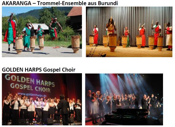 Golden Harps und Trommel-Ensemble Akaranga